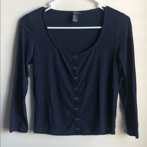 Forever 21 Navy Blue mid-length sleeve &crop top